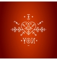 Love card with line romantic elements vector image