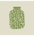 Money bank with dollars vector image
