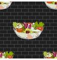Salad Bowl on Dark Gray Brick Wall vector image