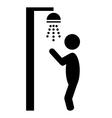Summer beach pool shower flat people pictogram vector image