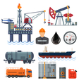 Oil industry Flat Icons Set vector image