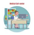 emergency call center concept vector image vector image