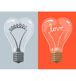 Love lightbulb in shape of heart vector image