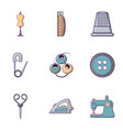 tailor equipment icons set flat style vector image vector image