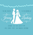 wedding invitation with silhouettes of the bride vector image