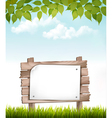 Natural background with leaves and a wooden sign vector image vector image