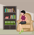 beautiful girl sitting in chair vector image