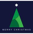 greeting card Christmas green tree and star vector image