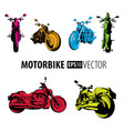 motorbike colorful set collection vector image