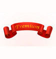 ribbon of red color with an inscription premium vector image