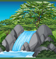 waterfall scene with green trees and blue sky vector image