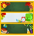 School accessories on a green chalkboard vector image