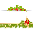 christmas pine frame 3 vector image vector image