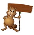 Cartoon Beaver signboard vector image vector image
