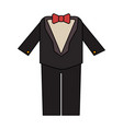 color image wedding suit male with bowtie vector image