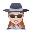 Mystery secret shopper woman face vector image