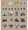 Photo and video camera flat icons vector image vector image