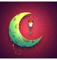 Banner with moon and arabic lantern for holy month vector image