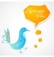 Blue bird with bubble on white background vector image