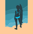 girl surfer with the longboard vector image