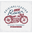 racer vintage grunge print with motorcycle and vector image