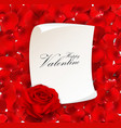 red rose with blank paper for text vector image