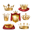 set of icons of royal golden crowns of vector image