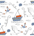 Colorful seamless sea pattern with seagulls vector image
