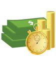 Money and stopwatch vector image vector image