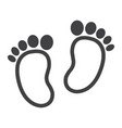 Baby footprint line icon foot silhouette vector image