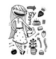 girlish fashion cartoon design outline elements vector image vector image