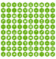 100 veterinary icons hexagon green vector image