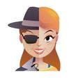 Mystery secret shopper woman half of the face vector image