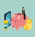 businessman piggybank time mobile coins money vector image