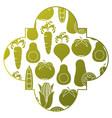 frame with vegetables pattern background vector image