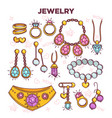 jewelry items flat set isolated on white vector image