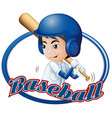 Label design with boy playing baseball vector image