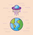 planet earth ufo ship space universe vector image