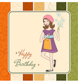 pretty girl with gift and flowers birthday card vector image