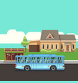 residential house with bus stop and blue bus flat vector image
