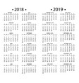 simple calendar for 2018 and 2019 years template vector image