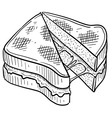 doodle food grilled cheese vector image vector image