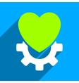 Mechanical Heart Flat Square Icon with Long Shadow vector image