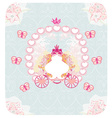 carriage- vintage floral wedding invitation vector image
