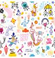 fun cartoon comic characters seamless pattern vector image