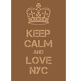 Keep Calm and love New York City poster vector image