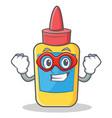 super hero glue bottle character cartoon vector image
