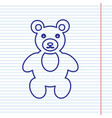 teddy bear sign navy line vector image