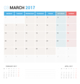 Calendar Planner for March 2017 vector image vector image