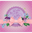 pink bow card 380 vector image vector image